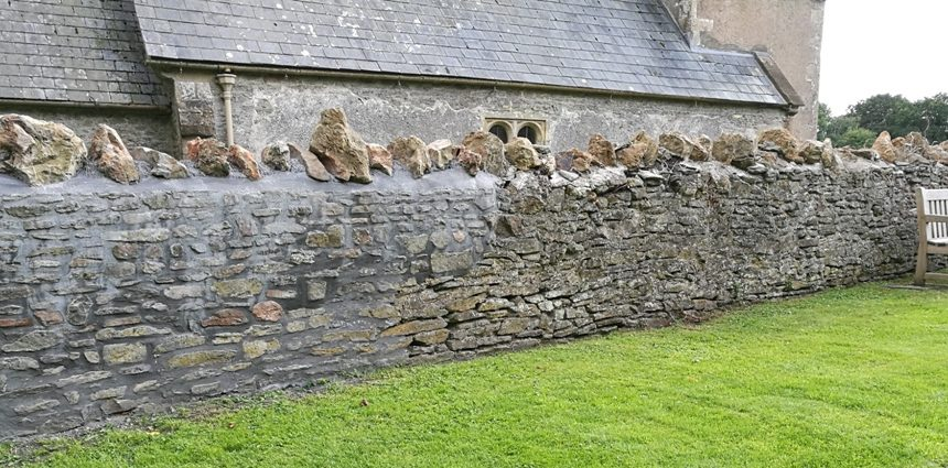 Repairing the Wall at Holcombe Old Church